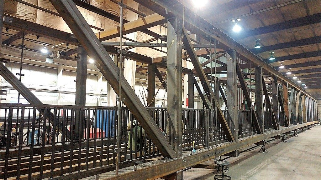 Pre-fabricated sections of the Beloit College Powerhouse pedestrian bridge