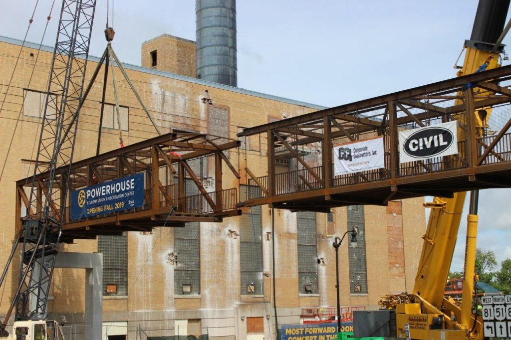 Beloit College Powerhouse pedestrian bridge was recently installed