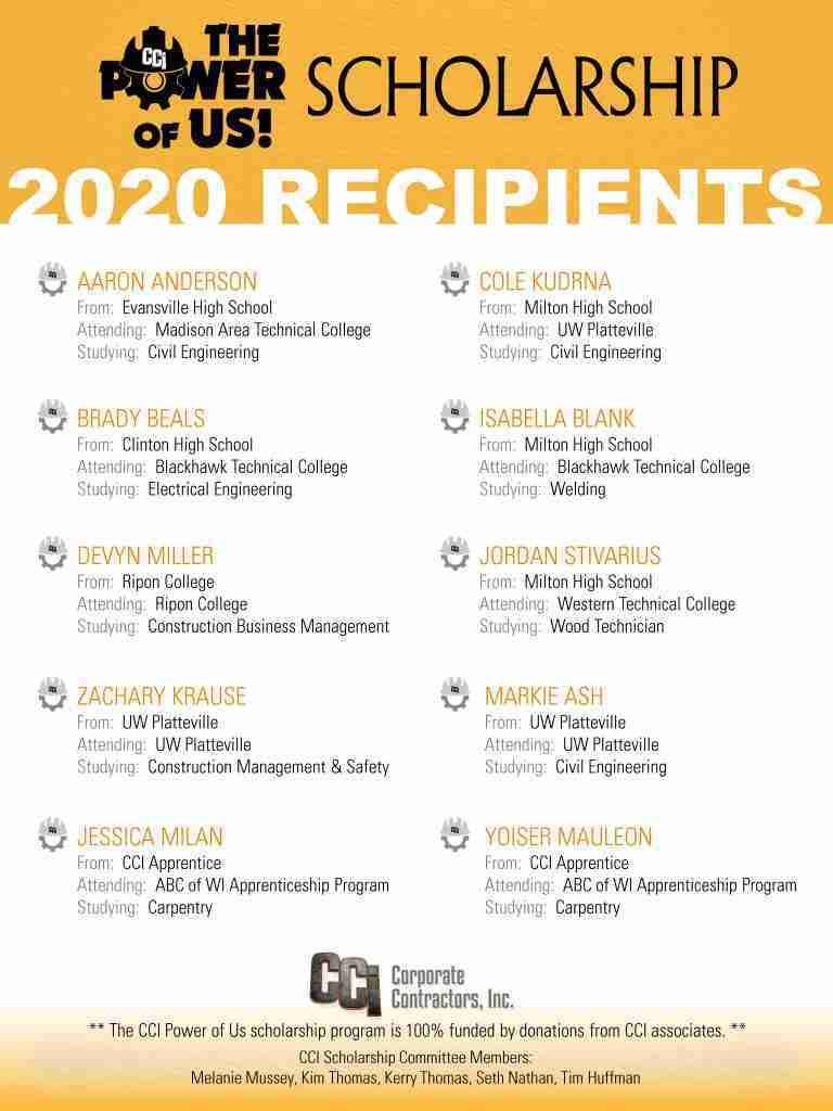 2020 CCI Power of Us Scholarship Recipients