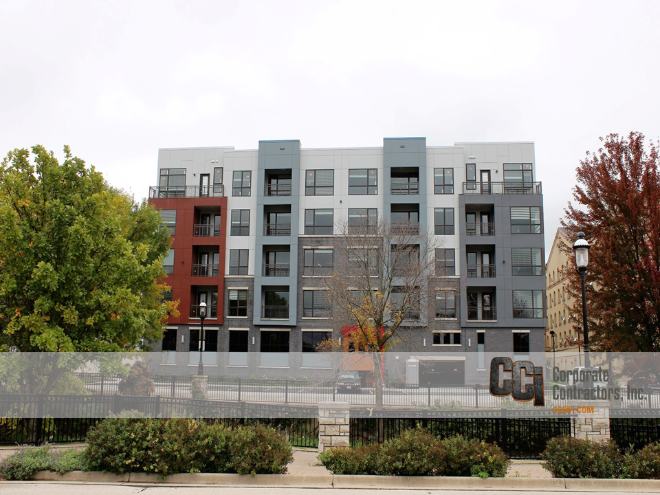 CCI constructed the Clearpoint multi-family apartment complex in downtown Waukesha, WI