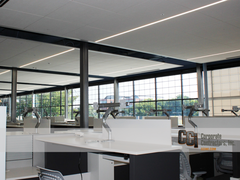CCI built-out a former factory space for the First National Bank call center, Beloit, WI